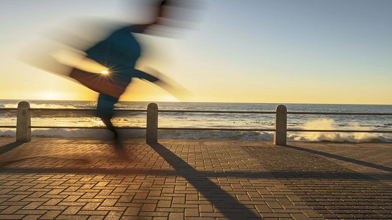 photographic art, interior design ideas, object d'art, wall art, seascape, jogging on the promenade, sunset, sunny summer afternoon,